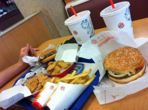 At one point in the day we stop at Burger King. It was cheaper to buy all this than to opt for a smaller meal...