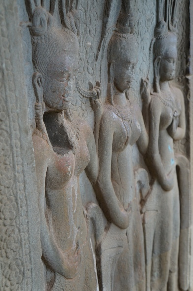 Ancient carvings in Angkor Wat