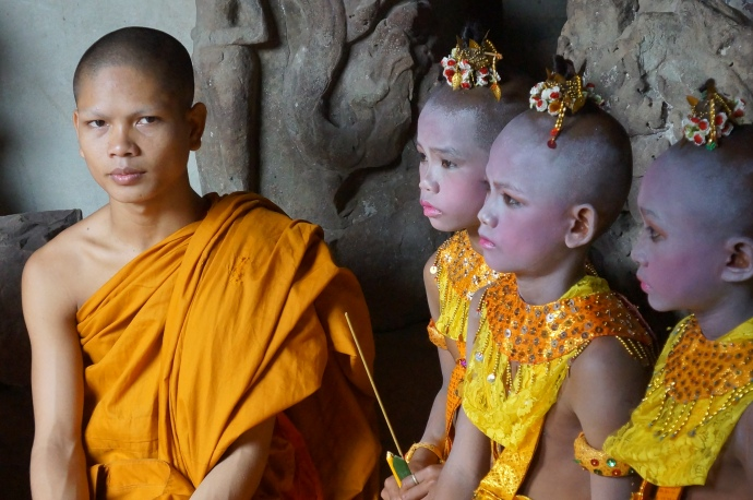 Young monks in training at Angkor Wat